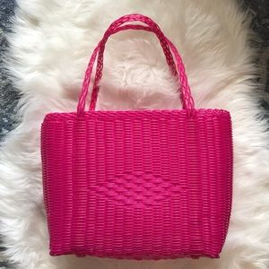 NWOT Hot Pink Woven Bag